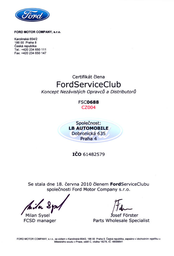 LB Automobile Certifikát Ford Service Club